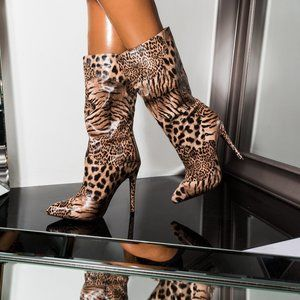 AZALEA WANG LEOPARD STILETTO MID CALF